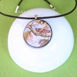 The Owl and the Grasshopper 2 Fable Pendant Necklace