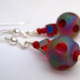 Red Shiny Polka-Dot Crystal Sterling Earrings