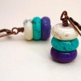 White Turquoise Blue Trifecta Howlite Copper Earrings