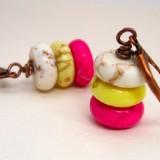 White Yellow Pink Trifecta Howlite Copper Earrings